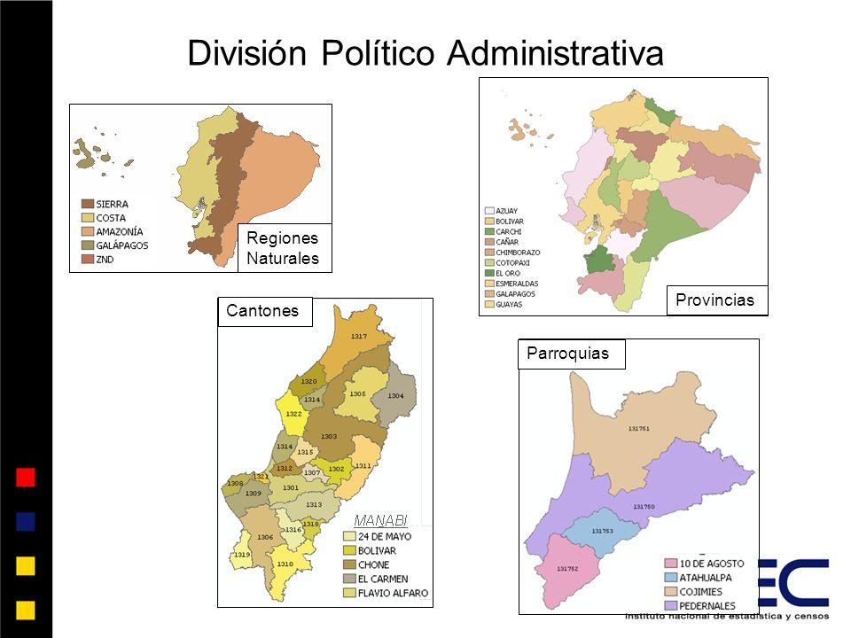 Provincias Cantones Parroquias División Político Administrativa