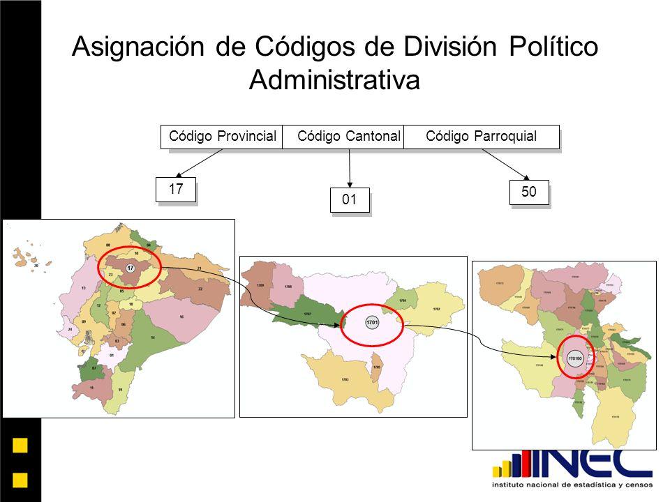 Asignación de Códigos de División Político Administrativa Código ProvincialCódigo CantonalCódigo Parroquial170150