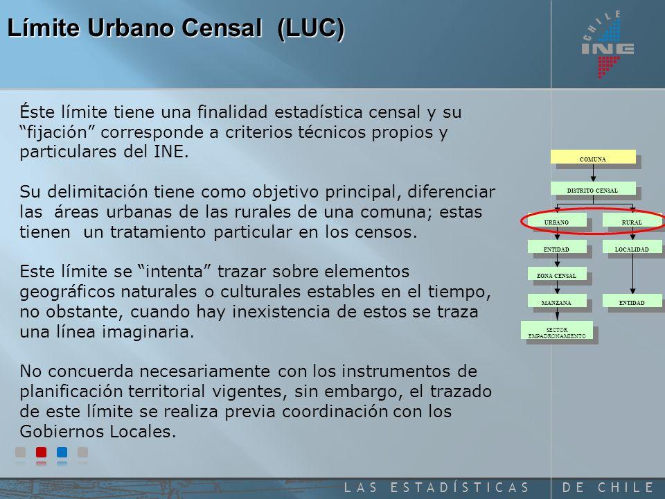 DE CHILELAS ESTADÍSTICAS Censo de 2002 Conjunto de viviendas concentradas con más de 2.000 habitantes, o entre 1.001 y 2.000 habitantes, con el 50% o