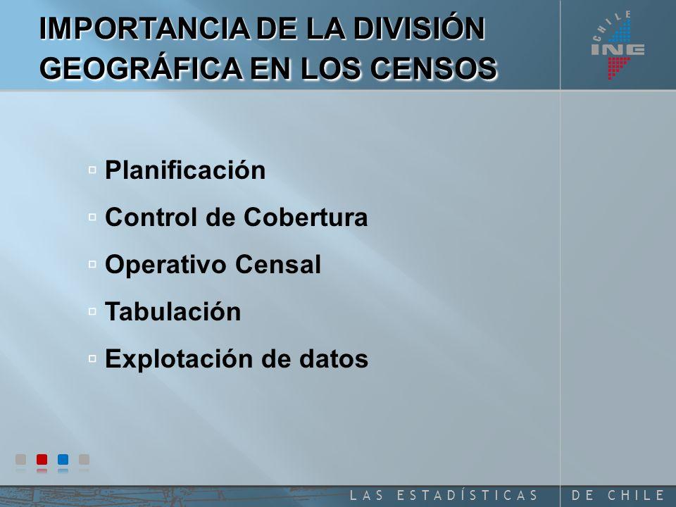 DE CHILELAS ESTADÍSTICAS Planificación Control de Cobertura Operativo Censal Tabulación Explotación de datos IMPORTANCIA DE LA DIVISIÓN GEOGRÁFICA EN LOS CENSOS
