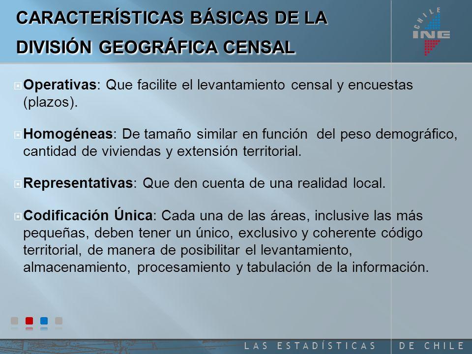 DE CHILELAS ESTADÍSTICAS Operativas: Que facilite el levantamiento censal y encuestas (plazos).