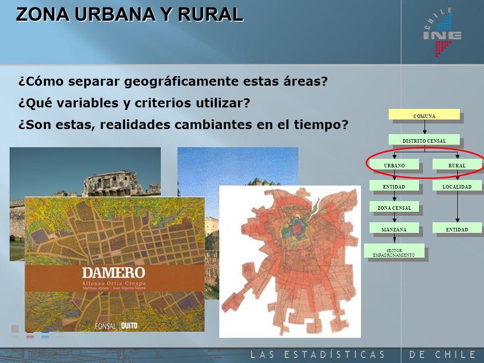 DE CHILELAS ESTADÍSTICAS ZONA URBANA Y RURAL ¿Cómo separar geográficamente estas áreas.