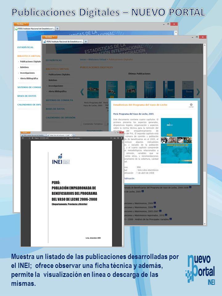 Muestra un listado de las publicaciones desarrolladas por el INEI; ofrece observar una ficha técnica y además, permite la visualización en línea o des