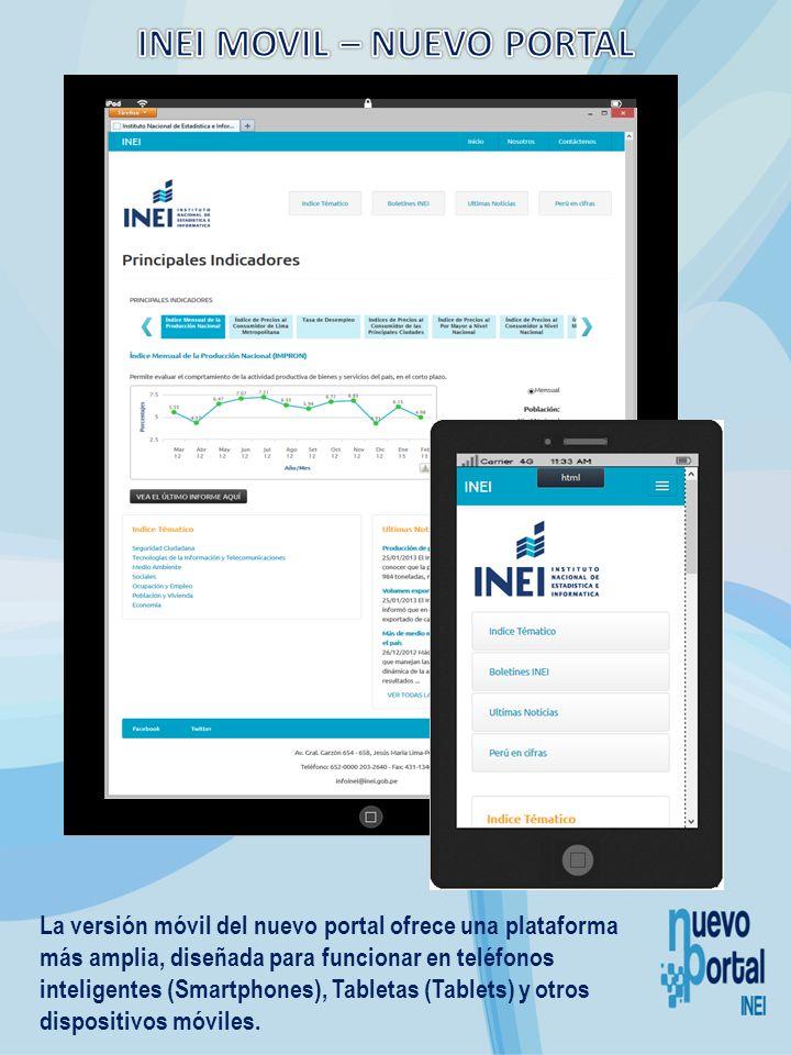La versión móvil del nuevo portal ofrece una plataforma más amplia, diseñada para funcionar en teléfonos inteligentes (Smartphones), Tabletas (Tablets