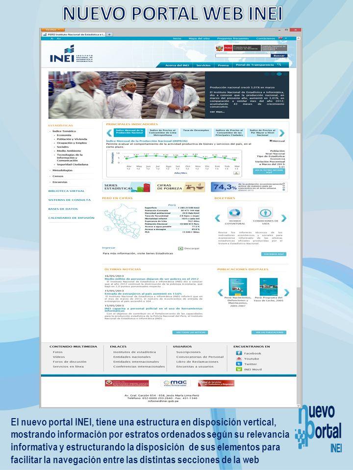 El nuevo portal INEI, tiene una estructura en disposición vertical, mostrando información por estratos ordenados según su relevancia informativa y est