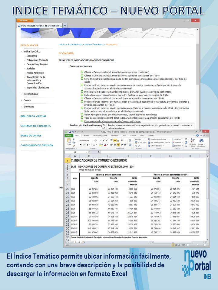 El Índice Temático permite ubicar información fácilmente, contando con una breve descripción y la posibilidad de descargar la información en formato E
