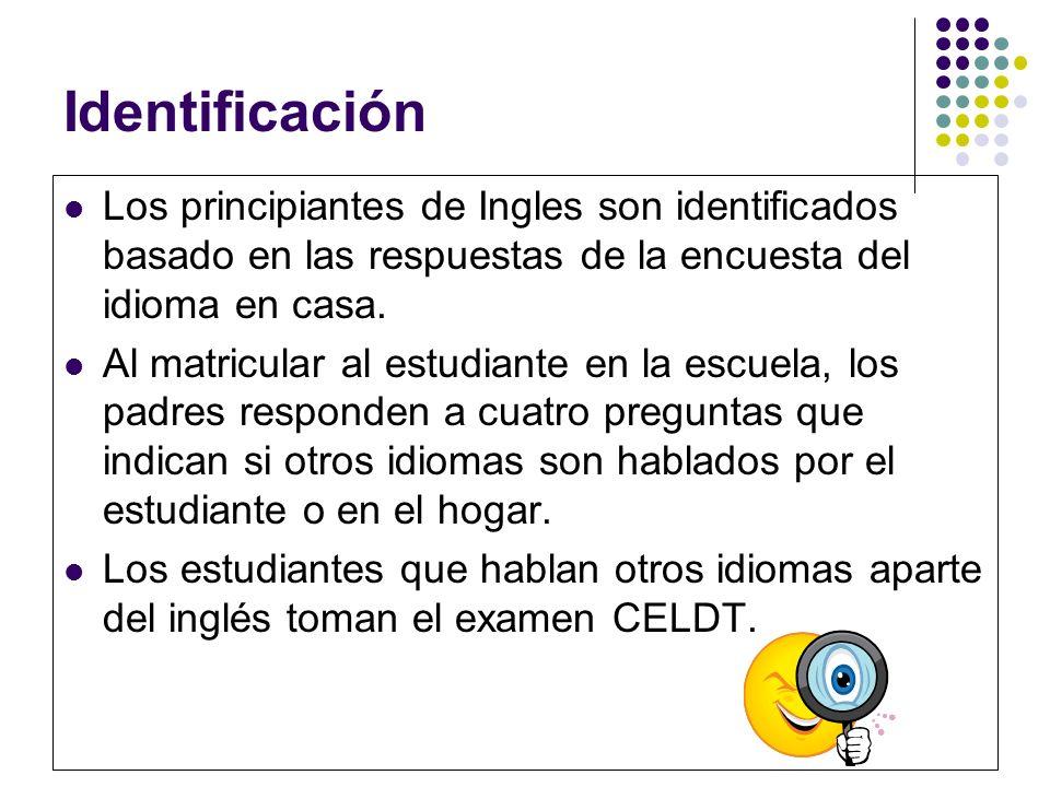 Identificación Los principiantes de Ingles son identificados basado en las respuestas de la encuesta del idioma en casa. Al matricular al estudiante e
