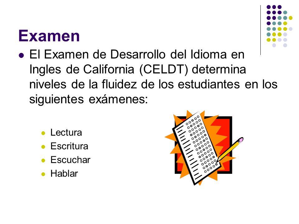 Examen El Examen de Desarrollo del Idioma en Ingles de California (CELDT) determina niveles de la fluidez de los estudiantes en los siguientes exámene
