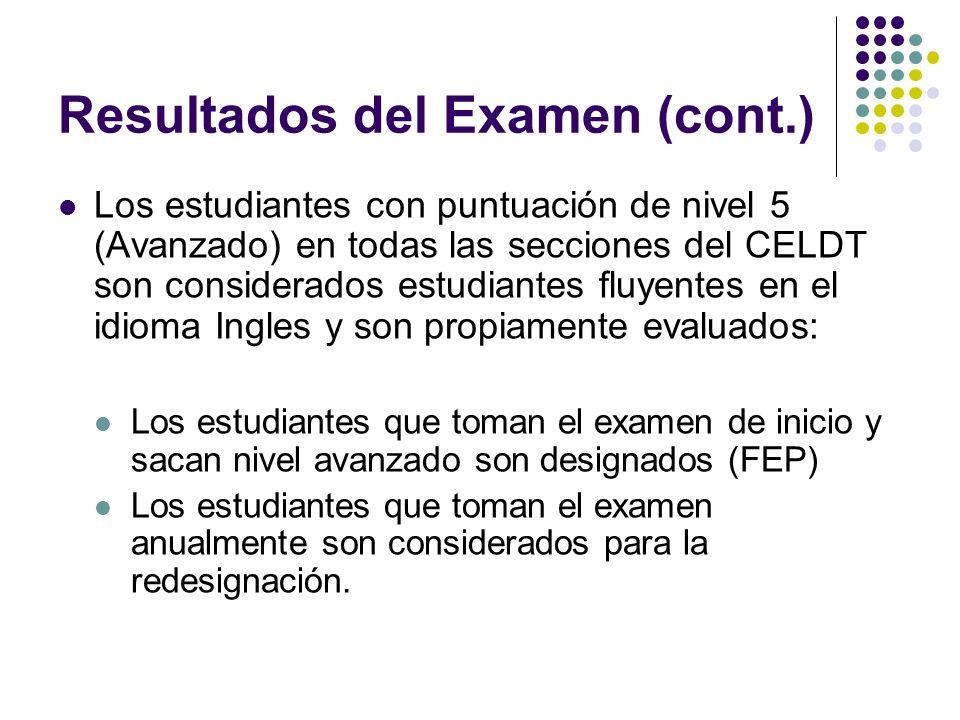 Resultados del Examen (cont.) Los estudiantes con puntuación de nivel 5 (Avanzado) en todas las secciones del CELDT son considerados estudiantes fluye