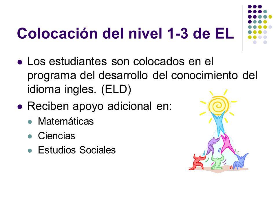 Colocación del nivel 4-5 de EL Los estudiantes son colocados en clases de ingles en el programa general Pueden recibir apoyo adicional en: Matemáticas Ciencia Estudios Sociales