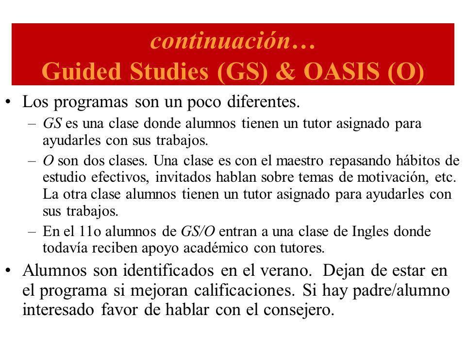 continuación… Guided Studies (GS) & OASIS (O) Los programas son un poco diferentes.