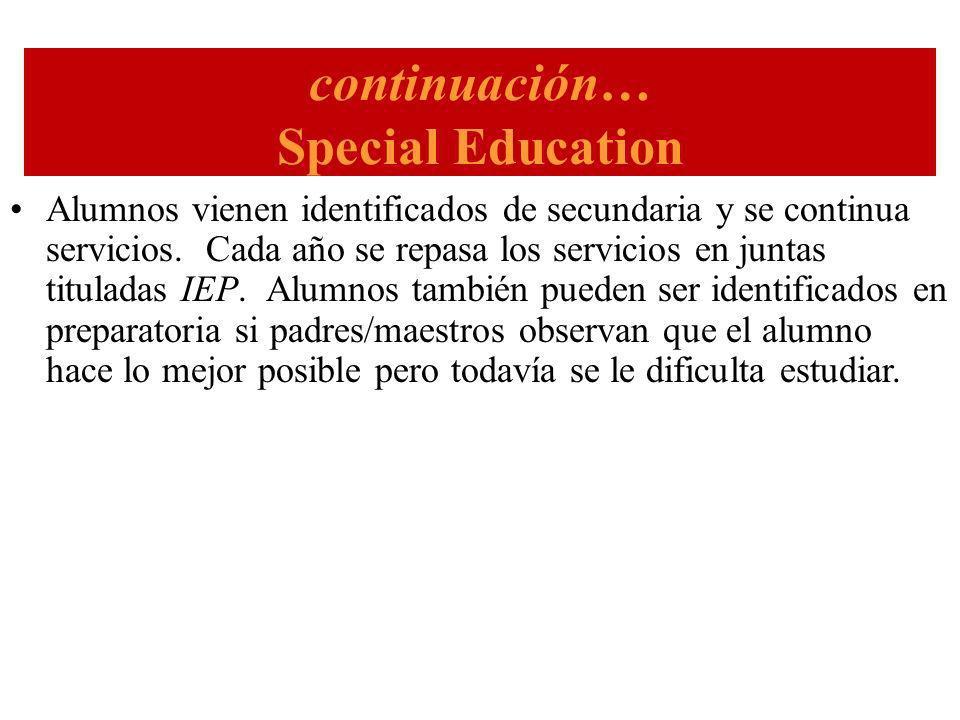continuación… Special Education Alumnos vienen identificados de secundaria y se continua servicios.