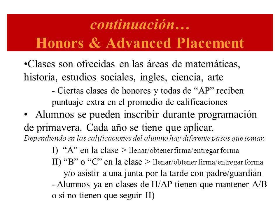 continuación… Honors & Advanced Placement Clases son ofrecidas en las áreas de matemáticas, historia, estudios sociales, ingles, ciencia, arte - Ciertas clases de honores y todas de AP reciben puntuaje extra en el promedio de calificaciones Alumnos se pueden inscribir durante programación de primavera.