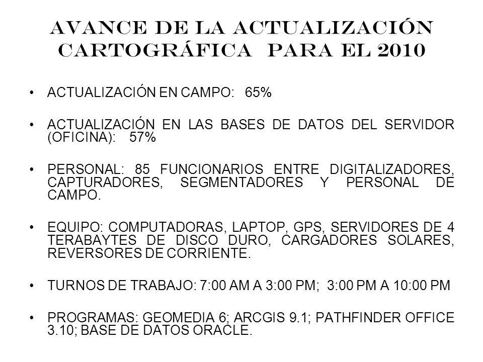 ACTUALIZACIÓN CARTOGRÁFICA PRECENSAL 2010 EL PROCESO DE GEOREFERENCIACIÓN DE LA ACTUAL BASE DE DATOS ES EN EL DATUM WGS-84. LOS DATOS RECOPILADOS EN E