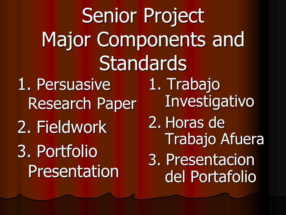 Senior Project Major Components and Standards 1.Persuasive Research Paper 2.