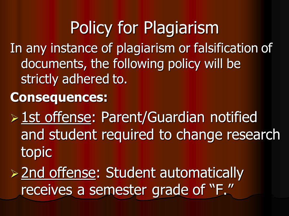 Policy for Plagiarism In any instance of plagiarism or falsification of documents, the following policy will be strictly adhered to.