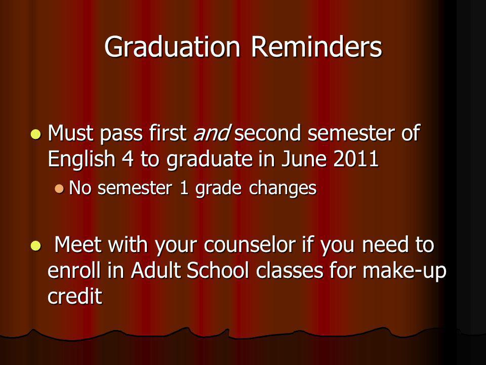 Graduation Reminders Must pass first and second semester of English 4 to graduate in June 2011 Must pass first and second semester of English 4 to graduate in June 2011 No semester 1 grade changes No semester 1 grade changes Meet with your counselor if you need to enroll in Adult School classes for make-up credit Meet with your counselor if you need to enroll in Adult School classes for make-up credit