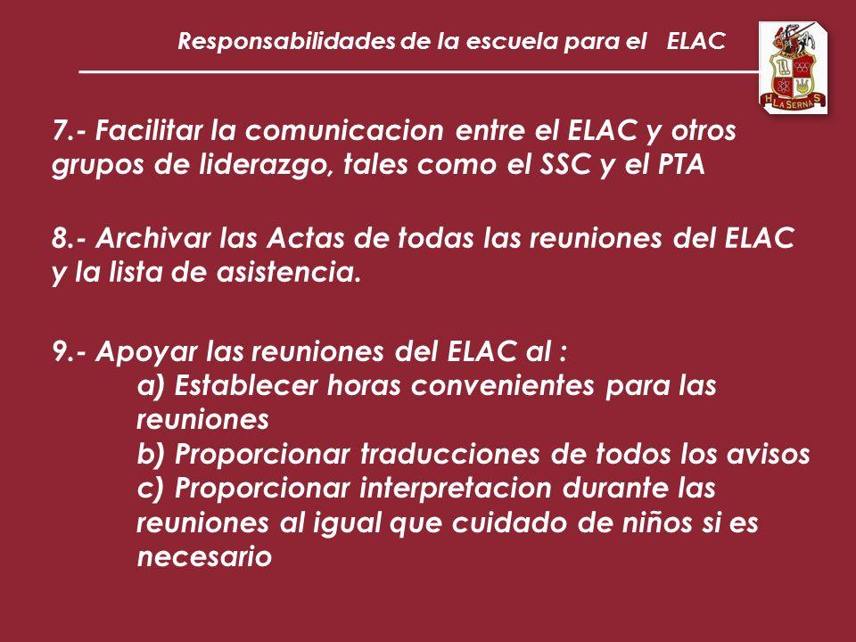 Responsabilidades de la escuela para el ELAC 7.- Facilitar la comunicacion entre el ELAC y otros grupos de liderazgo, tales como el SSC y el PTA 8.- Archivar las Actas de todas las reuniones del ELAC y la lista de asistencia.