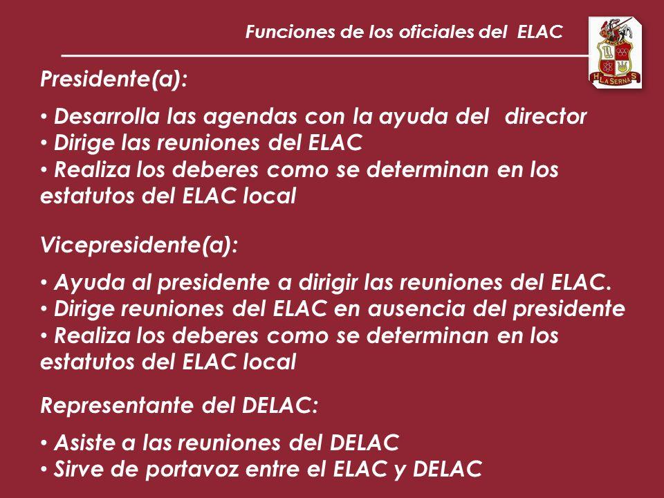 Funciones de los oficiales del ELAC Presidente(a): Desarrolla las agendas con la ayuda del director Dirige las reuniones del ELAC Realiza los deberes como se determinan en los estatutos del ELAC local Vicepresidente(a): Ayuda al presidente a dirigir las reuniones del ELAC.