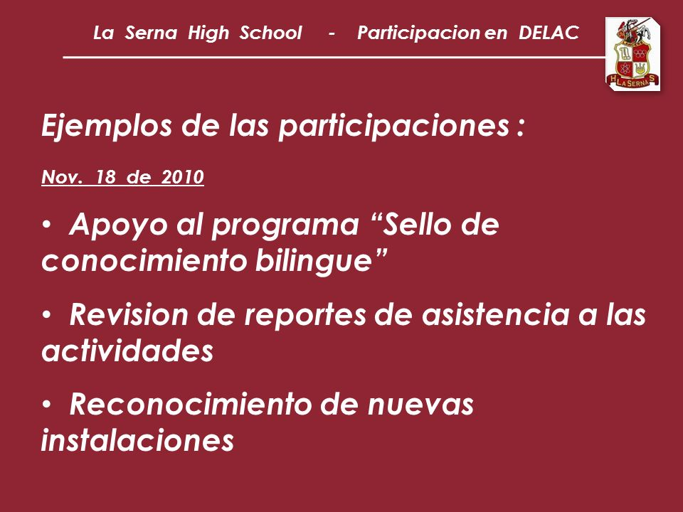 Ejemplos de las participaciones : Nov.
