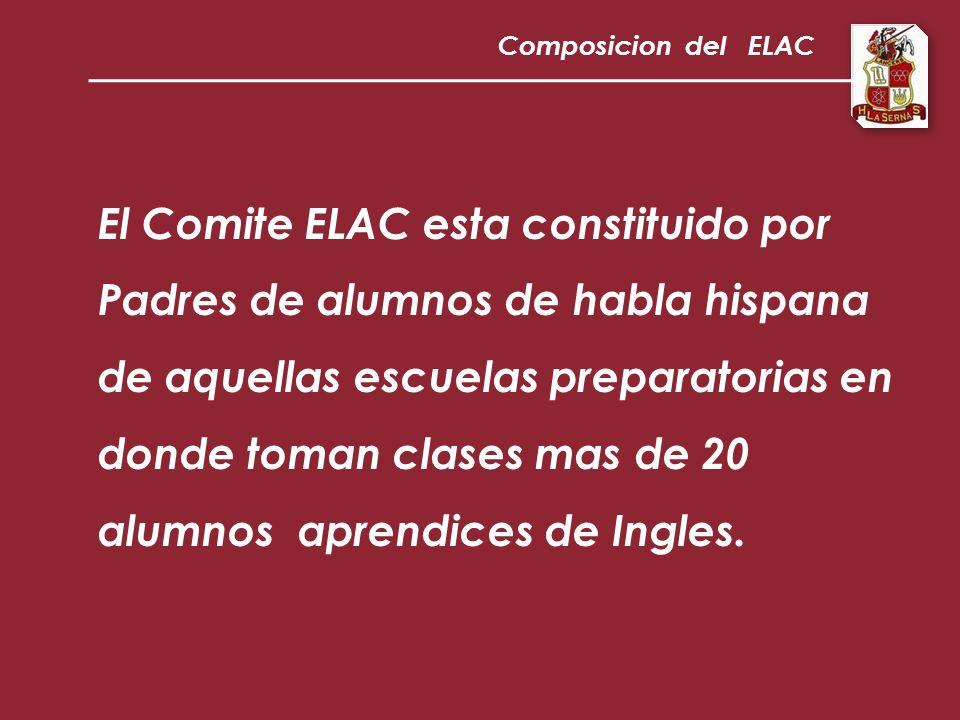 El Comite ELAC esta constituido por Padres de alumnos de habla hispana de aquellas escuelas preparatorias en donde toman clases mas de 20 alumnos aprendices de Ingles.