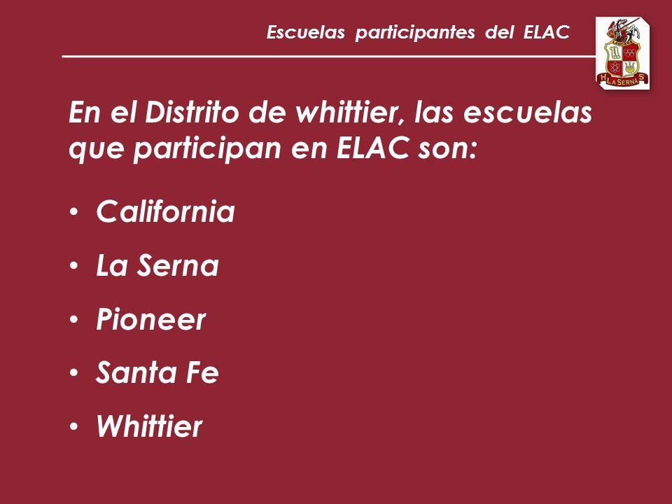 En el Distrito de whittier, las escuelas que participan en ELAC son: California La Serna Pioneer Santa Fe Whittier Escuelas participantes del ELAC