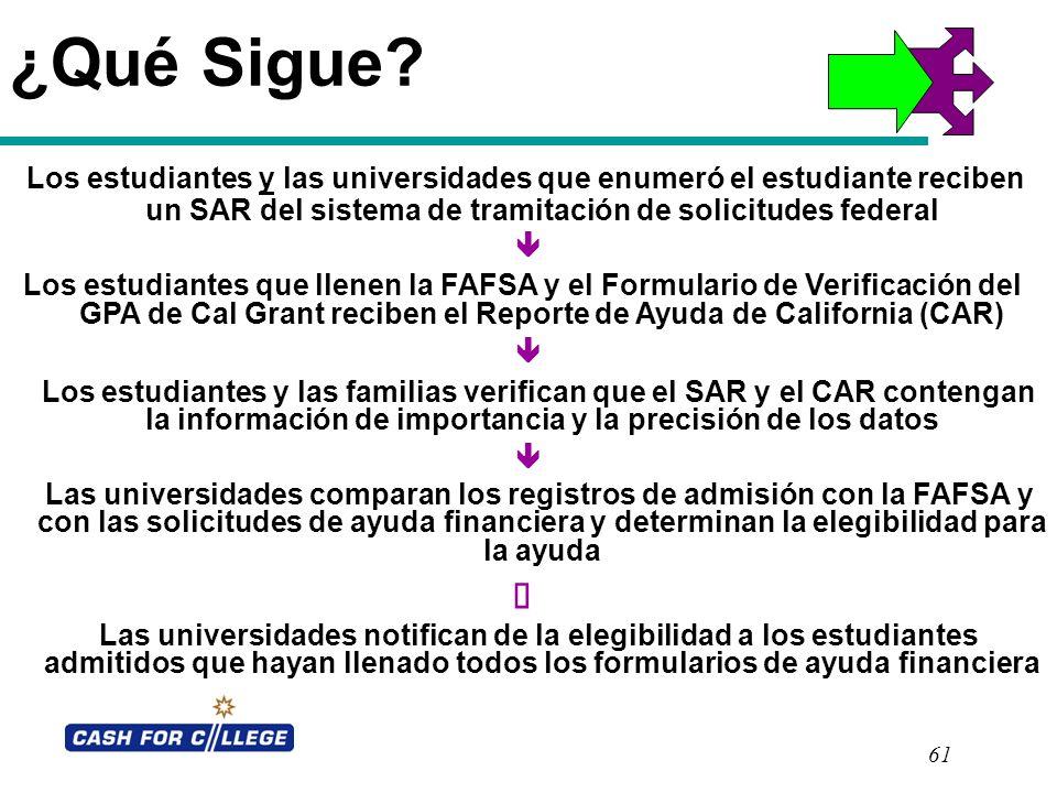 61 ¿Qué Sigue? Los estudiantes y las universidades que enumeró el estudiante reciben un SAR del sistema de tramitación de solicitudes federal Los estu