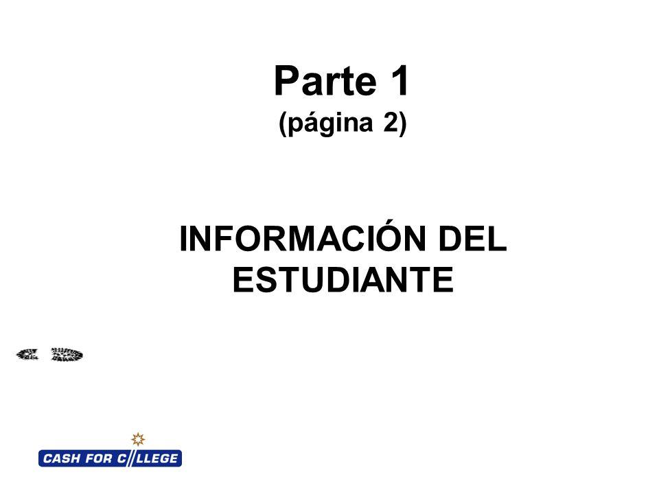 Parte 1 (página 2) INFORMACIÓN DEL ESTUDIANTE