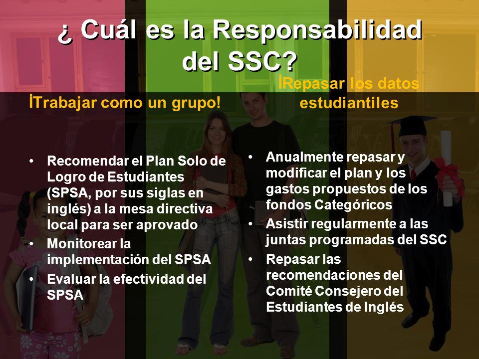 ¿ Cuál es la Responsabilidad del SSC? İTrabajar como un grupo! Recomendar el Plan Solo de Logro de Estudiantes (SPSA, por sus siglas en inglés) a la m