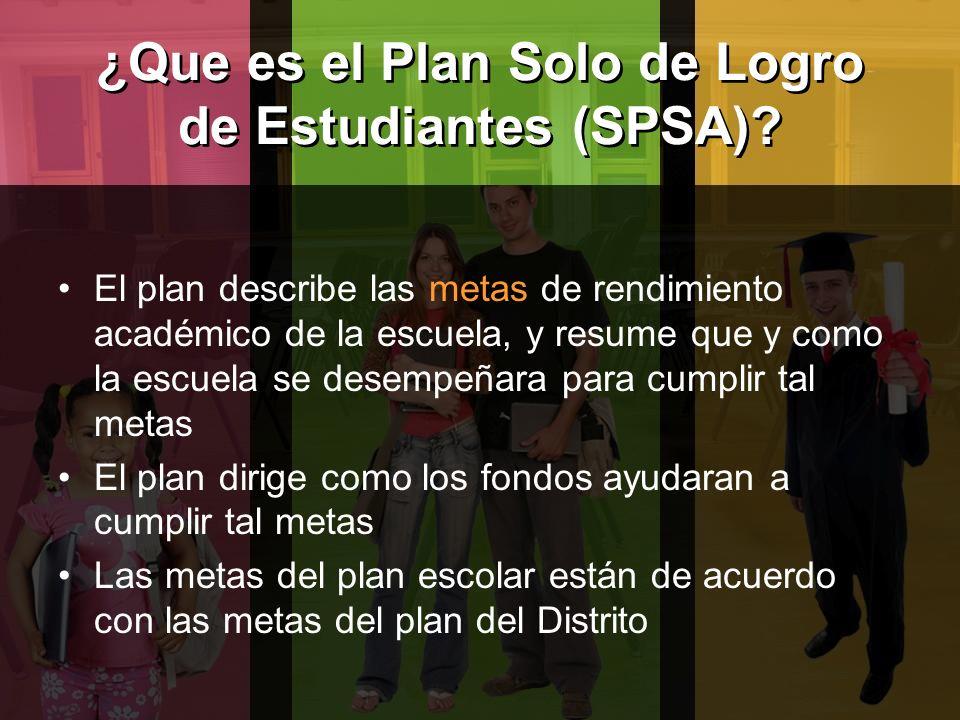 ¿Que es el Plan Solo de Logro de Estudiantes (SPSA).