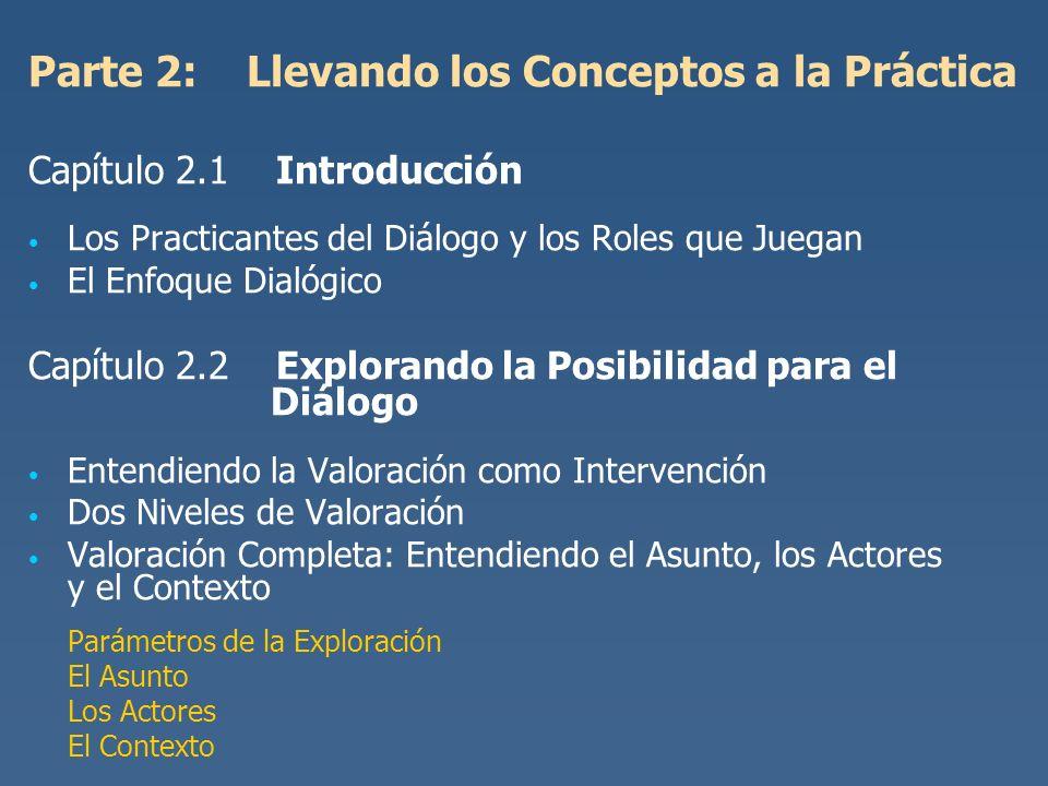 Parte 2: Llevando los Conceptos a la Práctica Capítulo 2.1 Introducción Los Practicantes del Diálogo y los Roles que Juegan El Enfoque Dialógico Capít