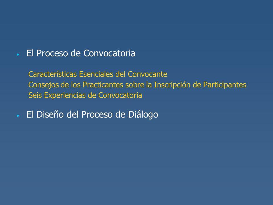 El Proceso de Convocatoria Características Esenciales del Convocante Consejos de los Practicantes sobre la Inscripción de Participantes Seis Experienc