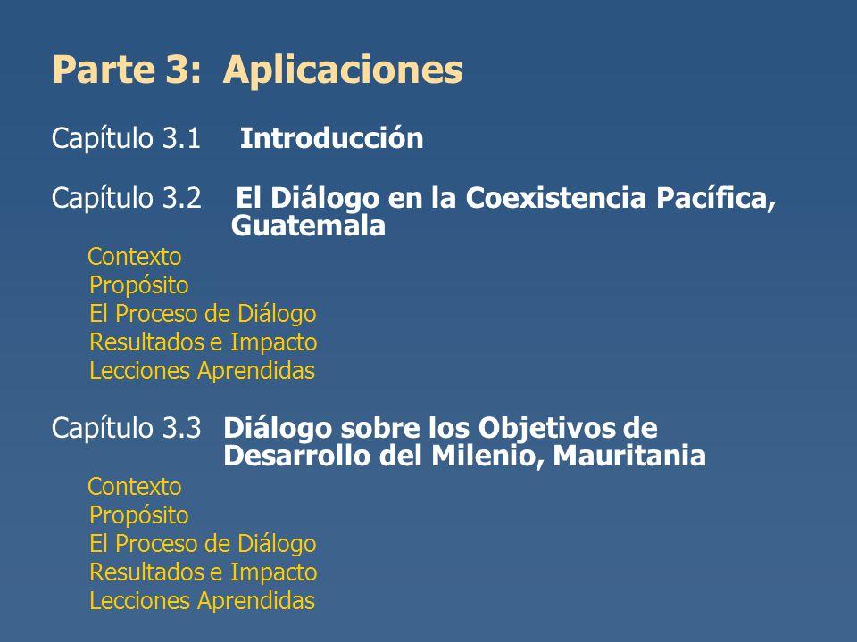Parte 3:Aplicaciones Capítulo 3.1 Introducción Capítulo 3.2 El Diálogo en la Coexistencia Pacífica, Guatemala Contexto Propósito El Proceso de Diálogo