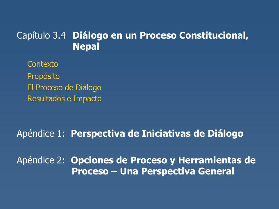 Capítulo 3.4 Diálogo en un Proceso Constitucional, Nepal Contexto Propósito El Proceso de Diálogo Resultados e Impacto Apéndice 1: Perspectiva de Inic
