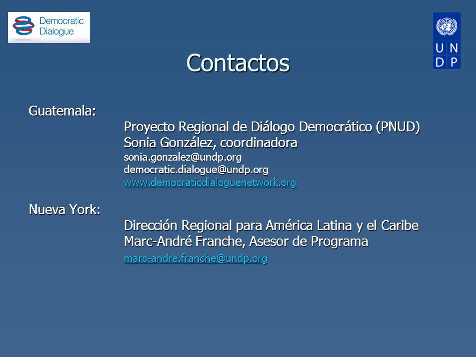 Contactos Guatemala: Proyecto Regional de Diálogo Democrático (PNUD) Sonia González, coordinadora sonia.gonzalez@undp.orgdemocratic.dialogue@undp.org