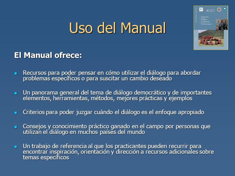 Uso del Manual El Manual ofrece: Recursos para poder pensar en cómo utilizar el diálogo para abordar problemas específicos o para suscitar un cambio d