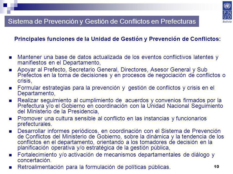 10 Mantener una base de datos actualizada de los eventos conflictivos latentes y manifiestos en el Departamento, Apoyar al Prefecto, Secretario Genera