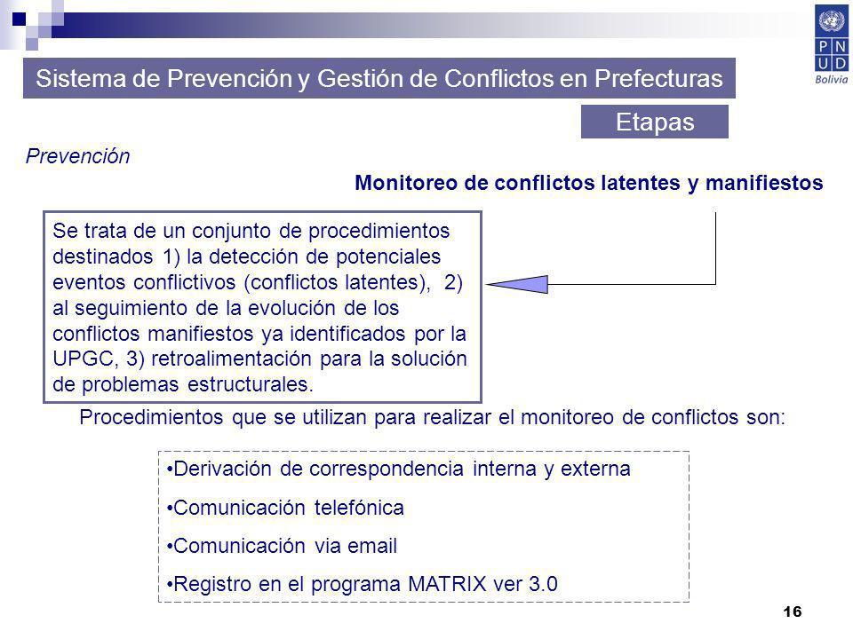16 Sistema de Prevención y Gestión de Conflictos en Prefecturas Etapas Prevención Monitoreo de conflictos latentes y manifiestos Procedimientos que se