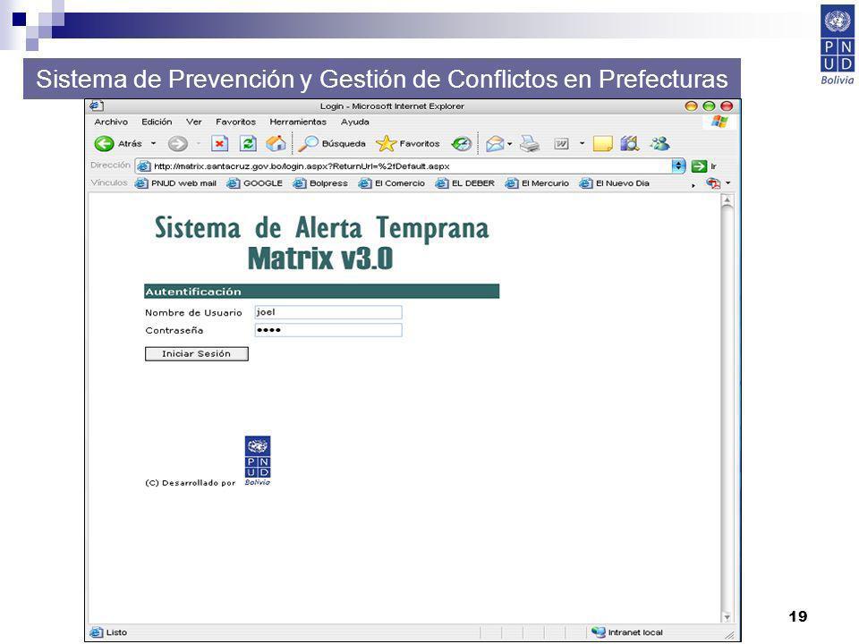 19 Sistema de Prevención y Gestión de Conflictos en Prefecturas