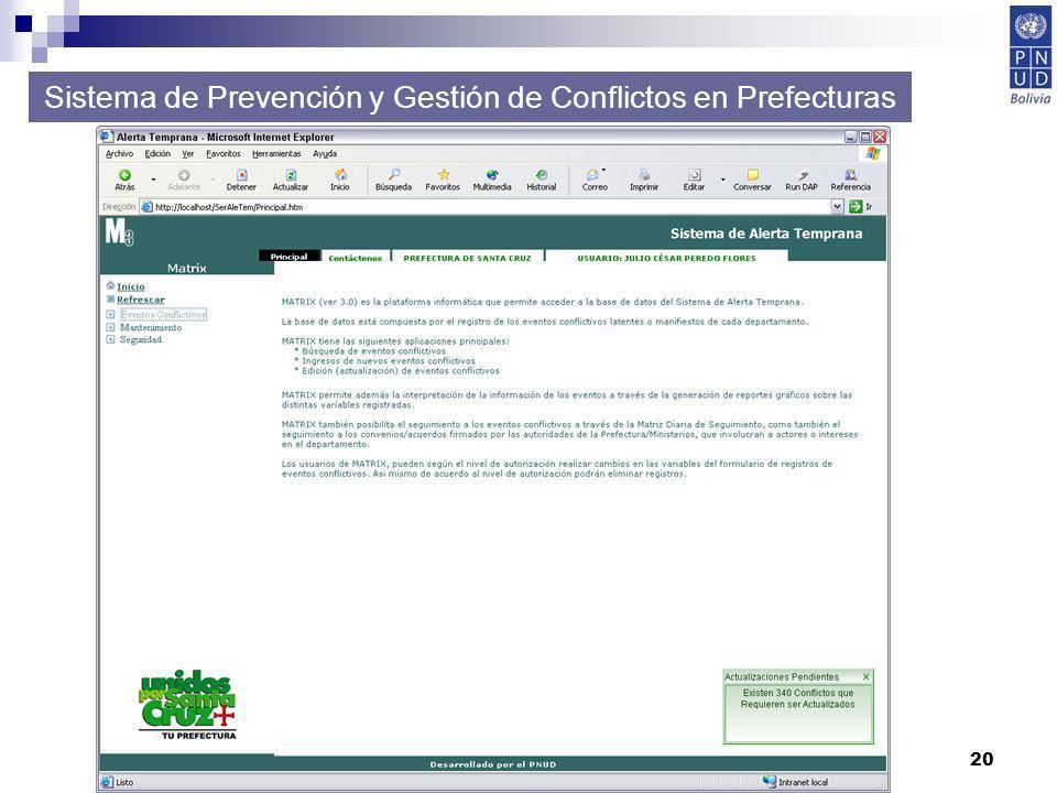20 Sistema de Prevención y Gestión de Conflictos en Prefecturas