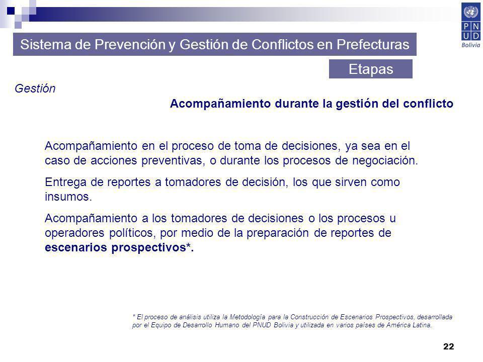22 Sistema de Prevención y Gestión de Conflictos en Prefecturas Etapas Gestión Acompañamiento durante la gestión del conflicto Acompañamiento en el pr