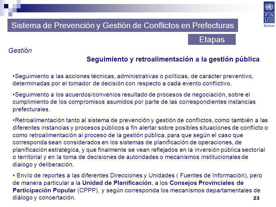 23 Sistema de Prevención y Gestión de Conflictos en Prefecturas Etapas Gestión Seguimiento y retroalimentación a la gestión pública Seguimiento a las