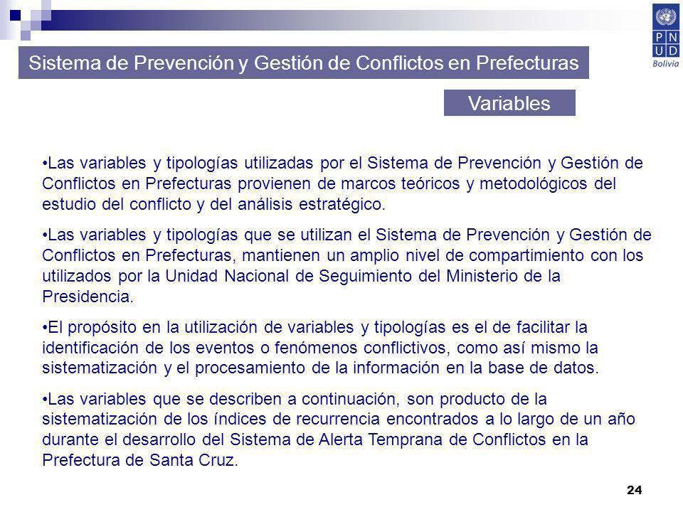24 Sistema de Prevención y Gestión de Conflictos en Prefecturas Variables Las variables y tipologías utilizadas por el Sistema de Prevención y Gestión