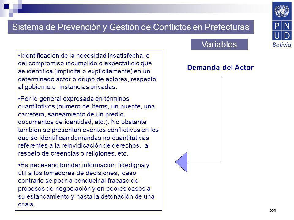 31 Sistema de Prevención y Gestión de Conflictos en Prefecturas Variables Identificación de la necesidad insatisfecha, o del compromiso incumplido o e