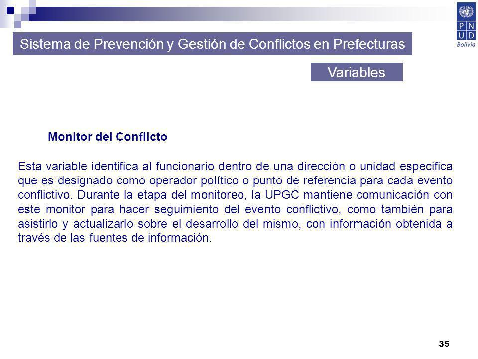 35 Sistema de Prevención y Gestión de Conflictos en Prefecturas Variables Monitor del Conflicto Esta variable identifica al funcionario dentro de una