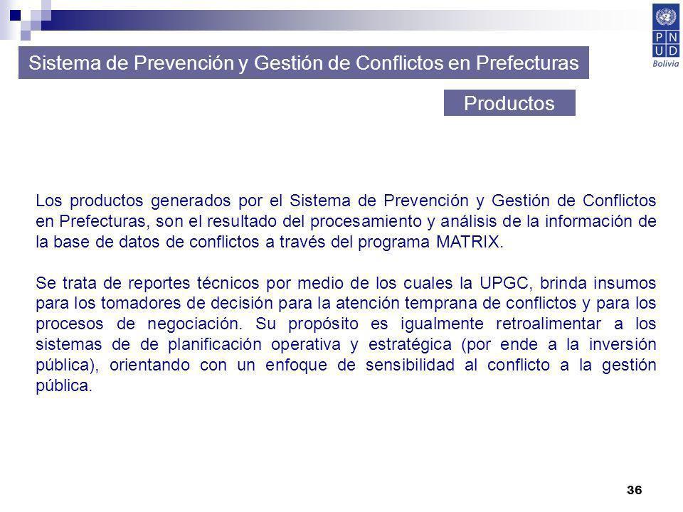 36 Sistema de Prevención y Gestión de Conflictos en Prefecturas Productos Los productos generados por el Sistema de Prevención y Gestión de Conflictos