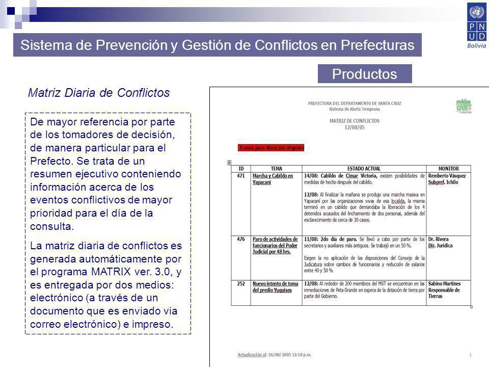 38 Sistema de Prevención y Gestión de Conflictos en Prefecturas Productos Matriz Diaria de Conflictos De mayor referencia por parte de los tomadores d