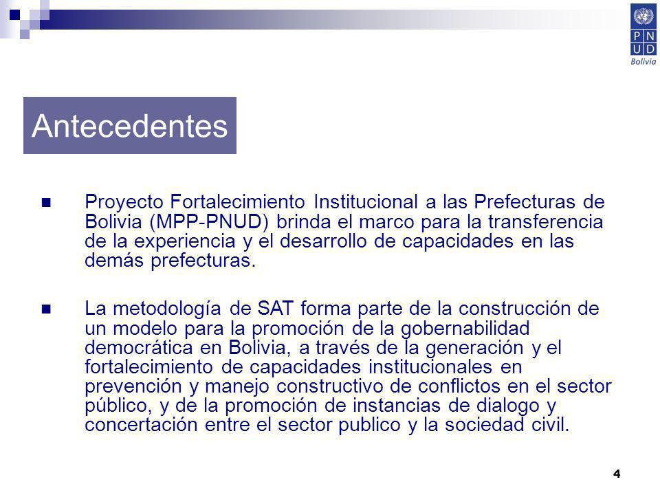 4 Proyecto Fortalecimiento Institucional a las Prefecturas de Bolivia (MPP-PNUD) brinda el marco para la transferencia de la experiencia y el desarrol