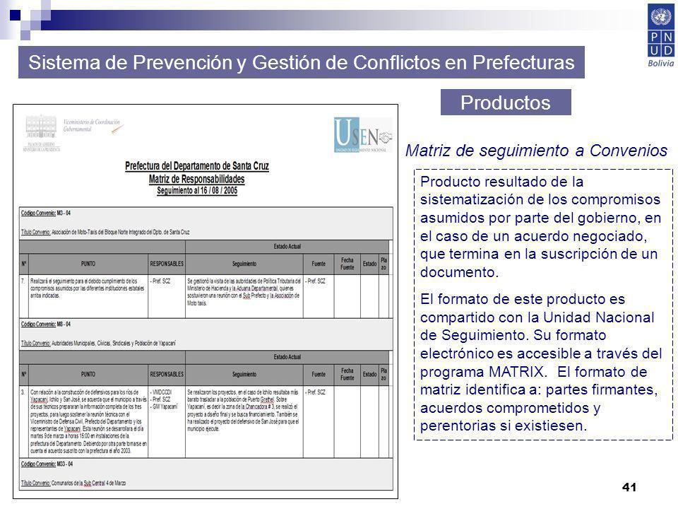 41 Sistema de Prevención y Gestión de Conflictos en Prefecturas Productos Matriz de seguimiento a Convenios Producto resultado de la sistematización d
