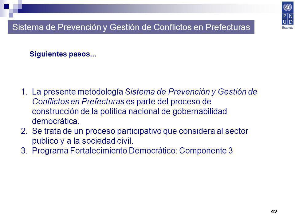 42 Sistema de Prevención y Gestión de Conflictos en Prefecturas Siguientes pasos... 1.La presente metodología Sistema de Prevención y Gestión de Confl